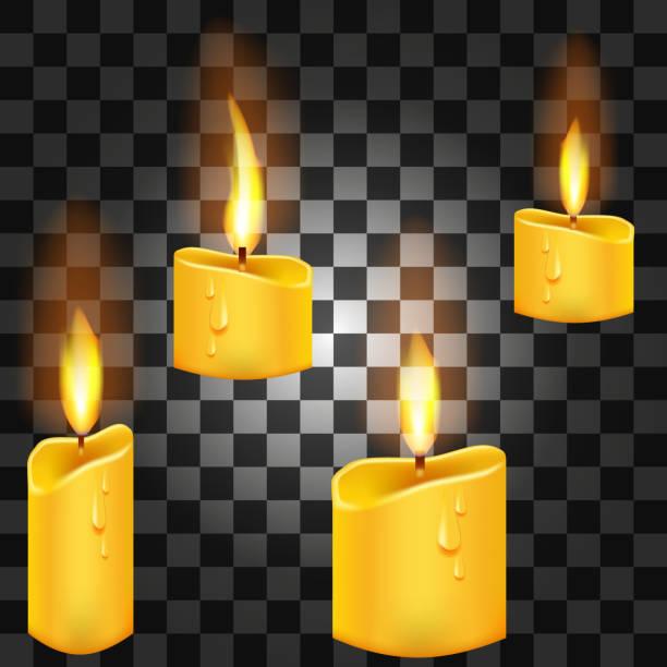 Satz von realistischen Kerzen mit Feuer auf einem transparenten Hintergrund. 3D Vektor-Illustration. – Vektorgrafik
