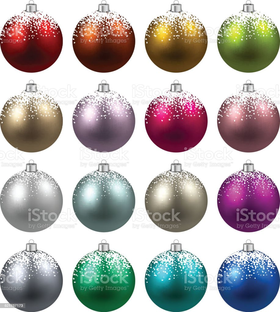 Set of realistic christmas balls. vector art illustration