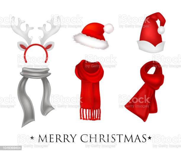 Set of realistic Christmas decorations with inscription Merry Christmas. Santa's hat, gloves, scarfes and socks. Vector illustration