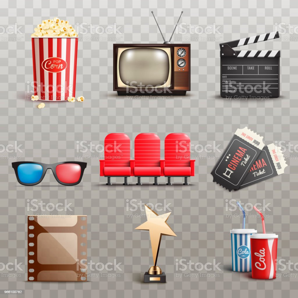 Set Of Realistic Cinema Elements on transparant background.Vector illustration - Royalty-free Alimentação Não-saudável arte vetorial