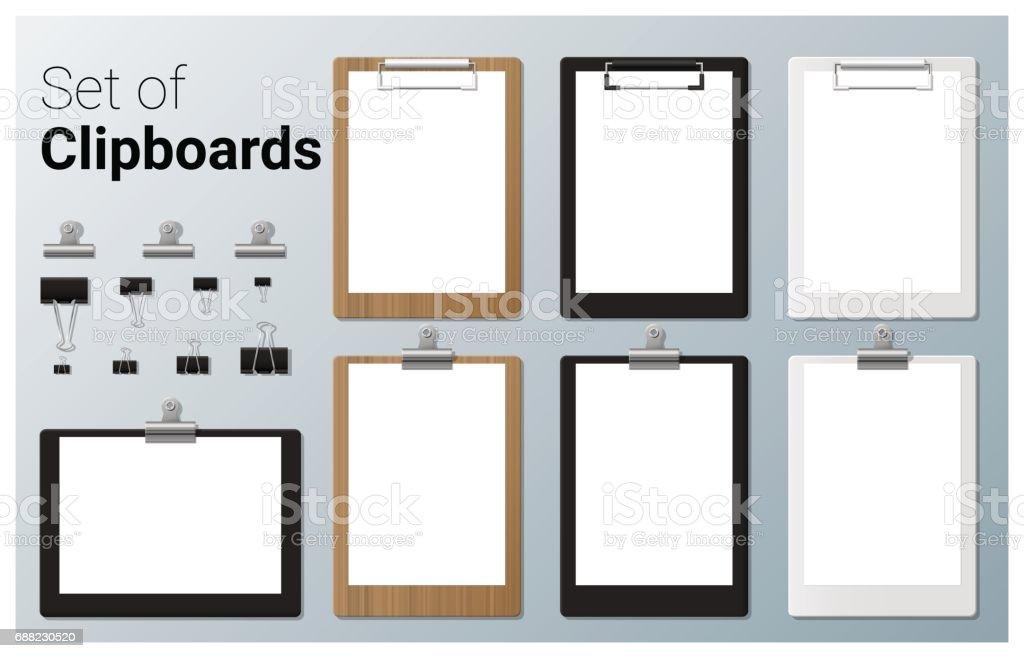 Set of realistic clipboards , vector, illustration Set of realistic clipboards , vector, illustration Black Color stock vector