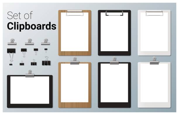 Set of realistic clipboards , vector, illustration Set of realistic clipboards , vector, illustration clipboard stock illustrations