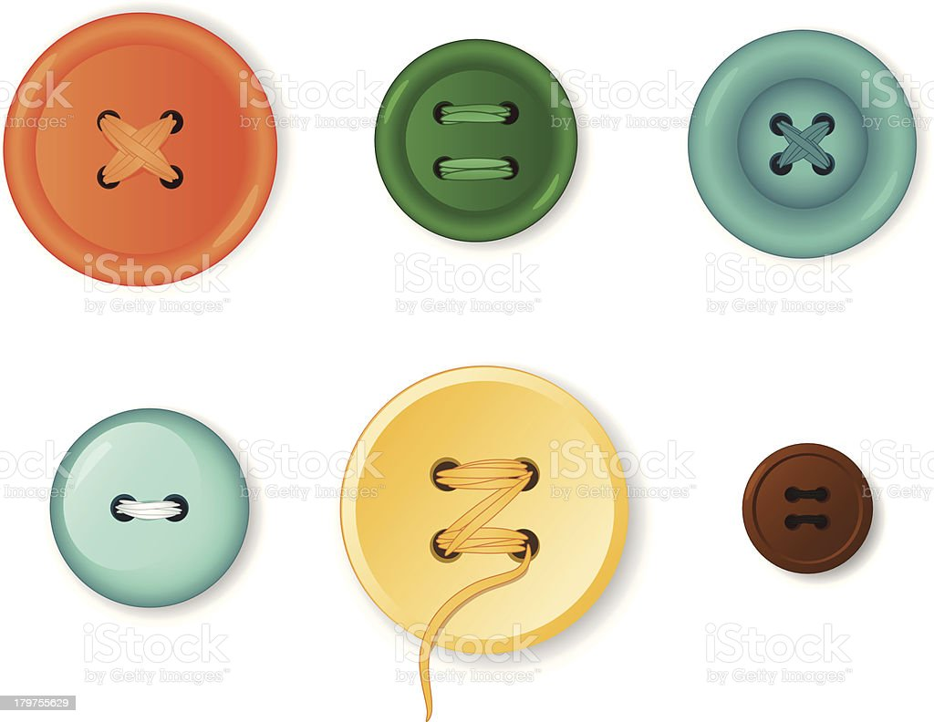 Set of realistic clothing buttons vector art illustration