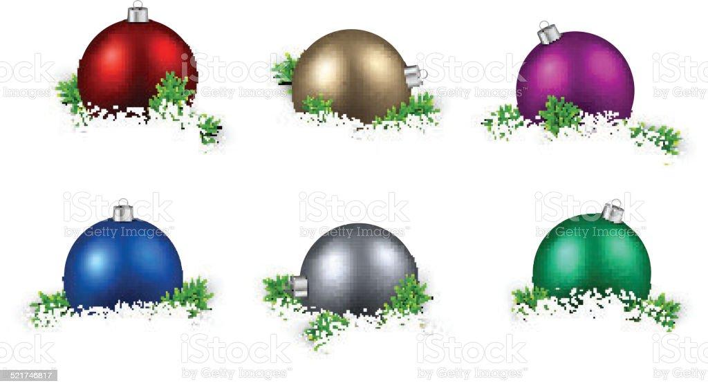 Ilustración de Juego De Bolas De Navidad De Color Realista y más ...