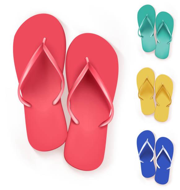 stockillustraties, clipart, cartoons en iconen met set of realistic colorful flip flops beach slippers - slipper