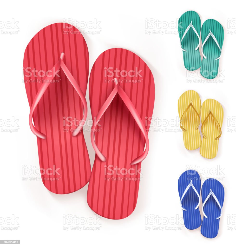Set of Realistic Colorful Flip Flops Beach Slippers vector art illustration