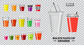 Set of realistic colorfull cup containers, with clear plastic in disposable cups, for soda, tea, cofee and other cold and hot beverages. easy to modify