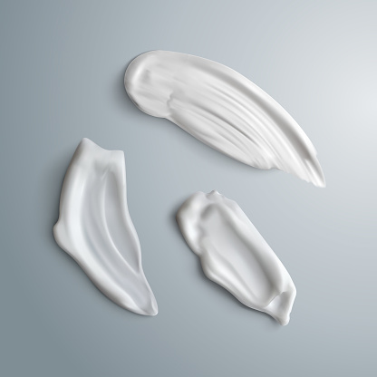 Set of realistic concealer smear strokes. Cosmetic product. Vector make up beauty illustration.