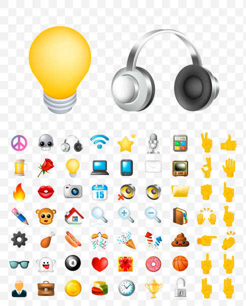 set of realistic cute elegant multimedia and interface icons on transparent background - emoji stock illustrations, clip art, cartoons, & icons