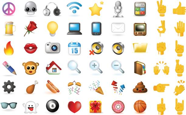 set of realistic cute elegant multimedia and interface icons on white background - emoji stock illustrations, clip art, cartoons, & icons