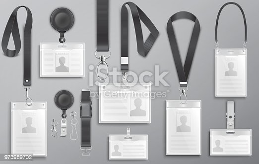 Set of realistic employee identification card on black lanyards with strap clips, cord and clasps vector illustration