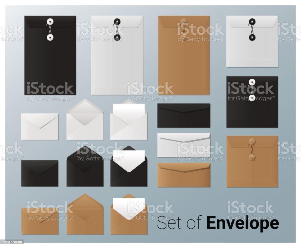Set of realistic envelope , vector, illustration set of realistic envelope vector illustration – cliparts vectoriels et plus d'images de affaires libre de droits