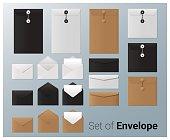 Set of realistic envelope , vector, illustration