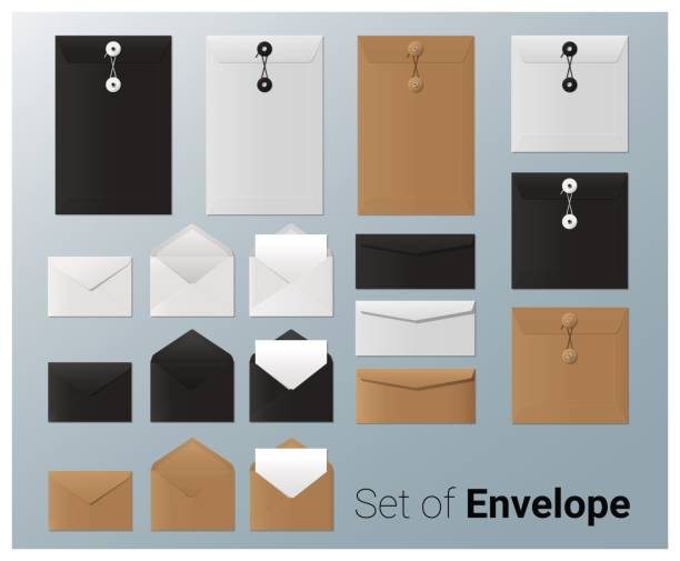 Set von realistischem Umschlag, Vektor, Illustration – Vektorgrafik