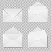 Set of realistic envelopes mockup on a transparent background . Stock vector