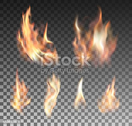 Set of realistic fire flames on transparent background. Special effects. Vector illustration. Translucent elements. Transparency grid