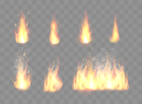 Set of Realistic Fire Flames
