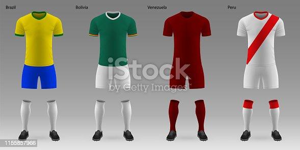 istock Set of realistic football kits 1155857966