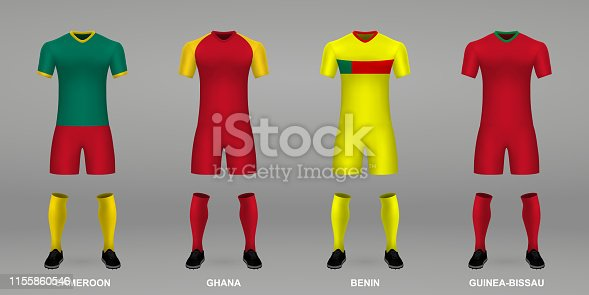 istock Set of realistic football kits, 1155860546