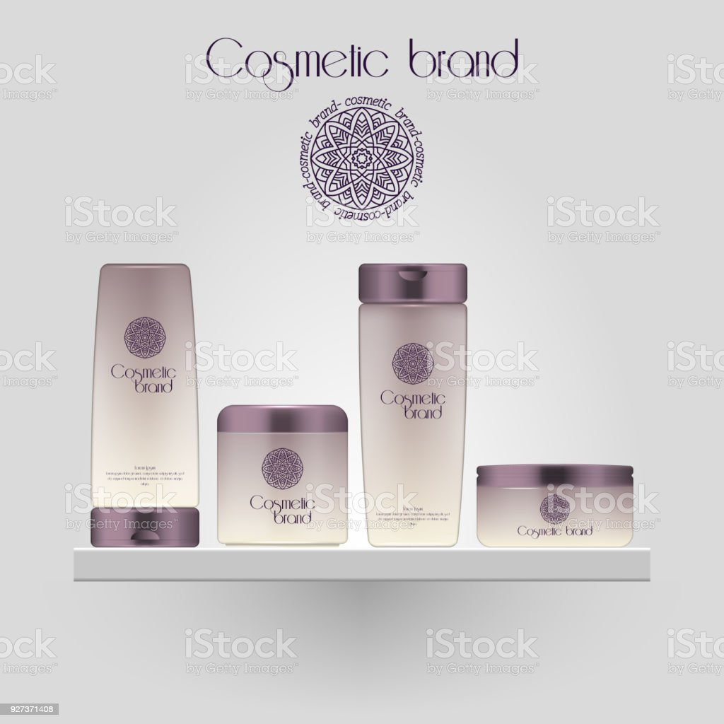 Set of realistic gradient color cosmetic bottle. 3D mockup bottle isolated on white background. Cosmetic products package. - Royalty-free Advertisement stock vector