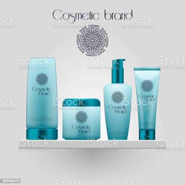 Zestaw Realistycznych Gradientowych Kolorów Kosmetycznych Butelki Butelka Makiety 3d Odizolowana Na Białym Tle Pakiet Produktów Kosmetycznych - Stockowe grafiki wektorowe i więcej obrazów Butelka