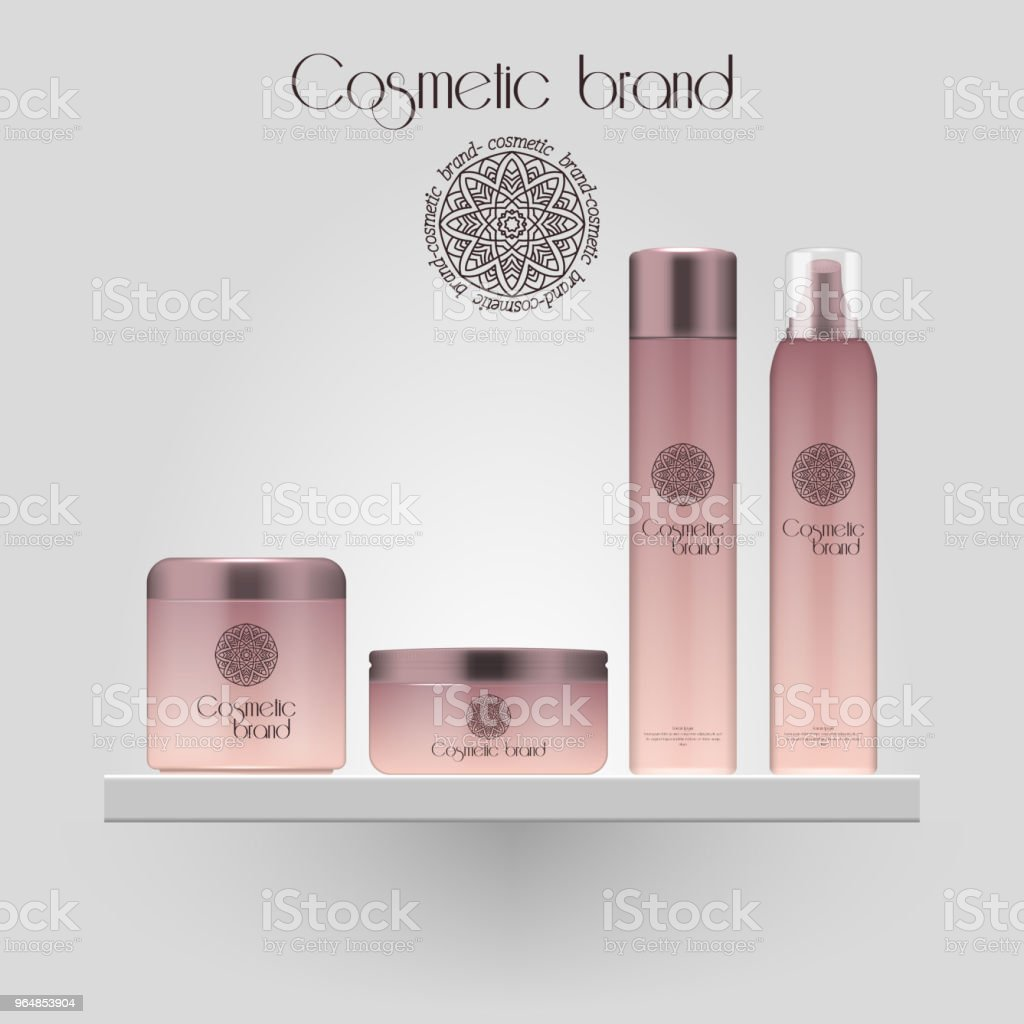 Set of realistic gradient color cosmetic bottle. 3D mockup bottle isolated on white background. Cosmetic products package. royalty-free set of realistic gradient color cosmetic bottle 3d mockup bottle isolated on white background cosmetic products package stock illustration - download image now