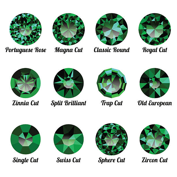 set of realistic green emeralds with round cuts - granatschmuck stock-grafiken, -clipart, -cartoons und -symbole