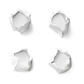 Set of realistic holes in paper isolated on white background.