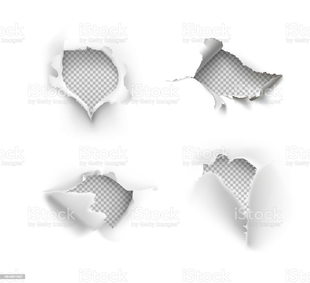 Set of realistic holes in paper isolated on white background. royalty-free set of realistic holes in paper isolated on white background stock illustration - download image now