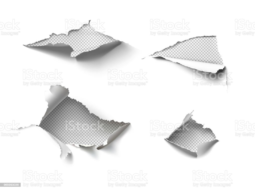 Satz von realistischen Löcher im Papier isoliert auf weißem Hintergrund. - Lizenzfrei Am Rand Vektorgrafik