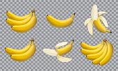 Set of realistic illustration bananas, 3d vector icons. Banana,half peeled banana,bunch of bananas isolated on white background, banana icon
