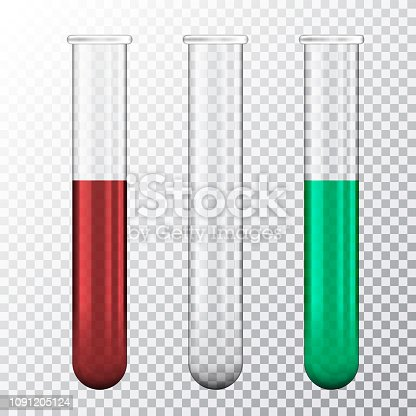 Set of realistic illustration of three test tube with red blood or green fluid, isolated on transparent background - vector