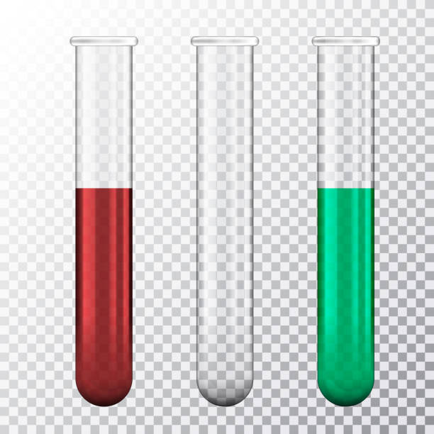 Set of realistic illustration of three test tube with red blood or green fluid, isolated on transparent background - vector Set of realistic illustration of three test tube with red blood or green fluid, isolated on transparent background - vector tube stock illustrations
