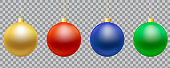 Set of realistic illustrations of christmas balls of gold, green, blue and red on string, isolated on transparent background - vector