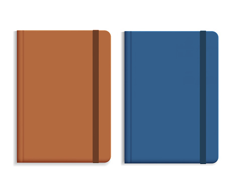 Set of realistic illustrations of leather diary, isolated on white background, with space for text - vector