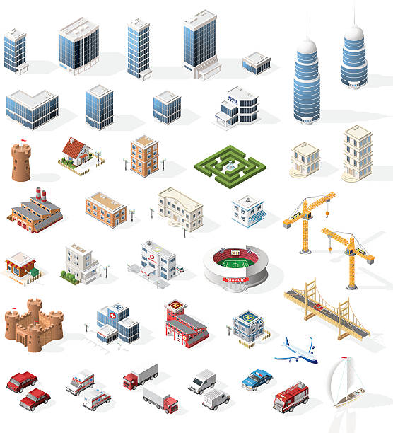illustrations, cliparts, dessins animés et icônes de set of realistic isometric high quality city element for map. - maison témoin modèle réduit