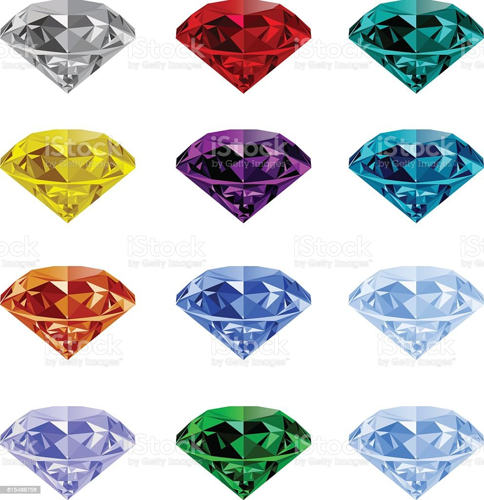 Set of realistic jewels on white background vector art illustration