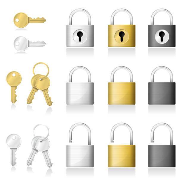 stockillustraties, clipart, cartoons en iconen met set van realistische sleutel en hangslot pictogrammen geïsoleerd op een witte achtergrond, vector illustratie - hangslot