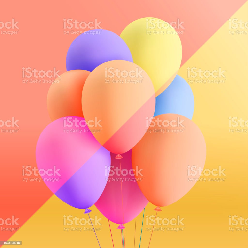 Set Of Realistic Mat Helium Balloons Floating On Colorful Background Vector 3D For Birthday