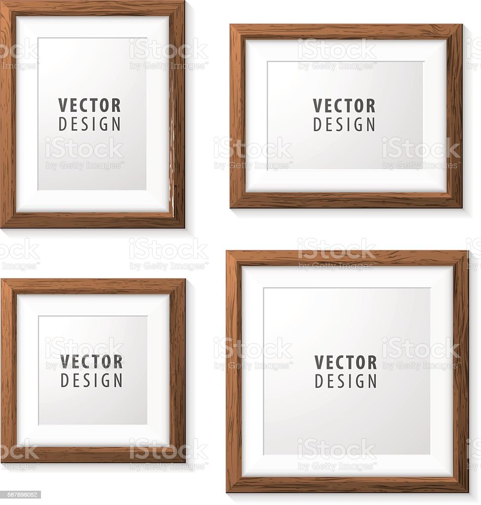 Set of Realistic Minimal Isolated Wood Frames. - Illustration vectorielle