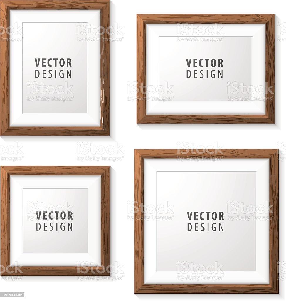 Set of Realistic Minimal Isolated Wood Frames. vector art illustration