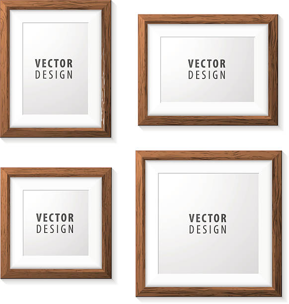 illustrations, cliparts, dessins animés et icônes de set of realistic minimal isolated wood frames. - bordures pour cadres photo