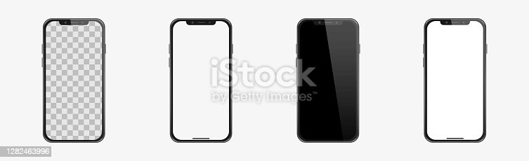 istock Set of realistic models smartphone with transparent screens, smartphone mockup collection, device front view 1282463996