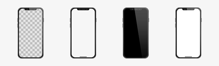 Set of realistic models smartphone with transparent screens, smartphone mockup collection, device front view