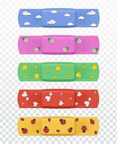 Set of realistic multi-colored medical plasters with