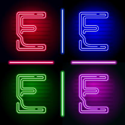 현실적인 네온 편지 다른 네온 색상으로 어두운 배경에 빛의 설정 독특한 디자인에 대 한 벡터 네온 서체 0명에 대한 스톡 벡터 아트 및 기타 이미지