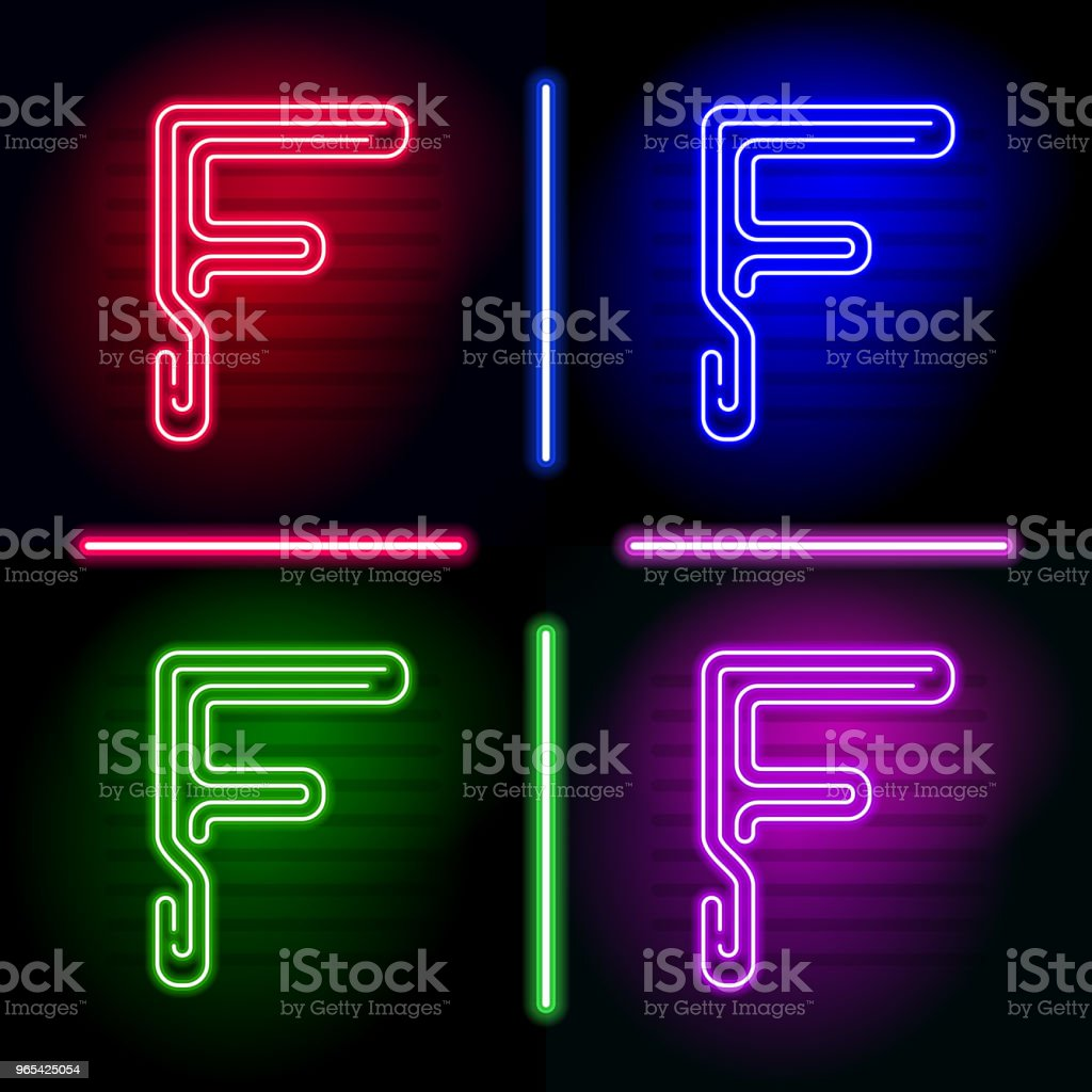 Set of realistic neon letters with different neon color glow on dark background. Vector neon typeface for your unique design - Grafika wektorowa royalty-free (Abstrakcja)
