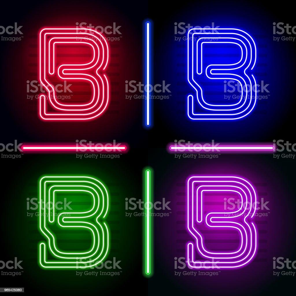 Ensemble de néon réaliste lettres avec des couleurs différentes néon brillent sur fond sombre. Fonte de néon de vecteur pour votre conception unique - clipart vectoriel de Abstrait libre de droits
