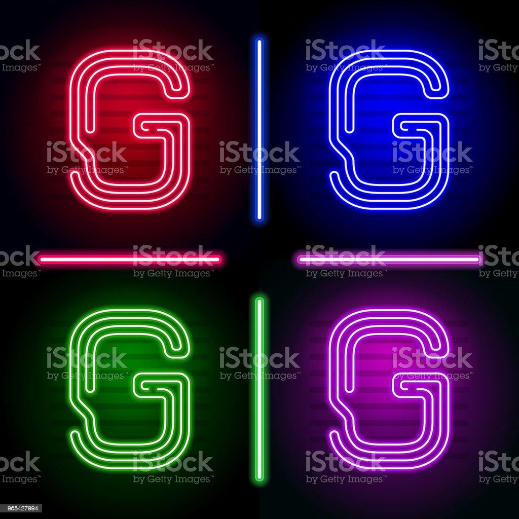 현실적인 네온 편지 다른 네온 색상으로 어두운 배경에 빛의 설정. 독특한 디자인에 대 한 벡터 네온 서체 - 로열티 프리 0명 벡터 아트