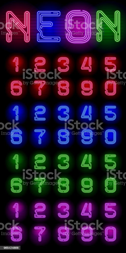 Set of realistic neon numbers with different neon color glow on dark background. Vector neon typeface for your unique design royalty-free set of realistic neon numbers with different neon color glow on dark background vector neon typeface for your unique design stock vector art & more images of abstract